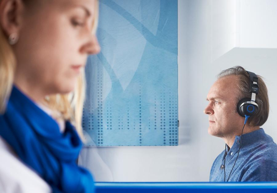 man taking a hearing test