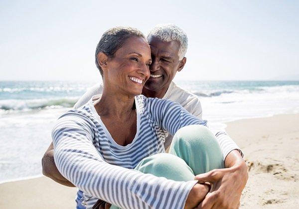 man woman on a beach
