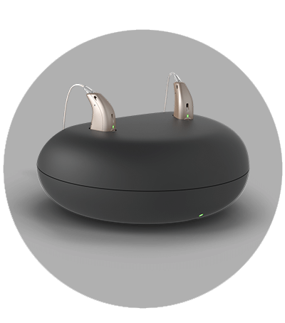 rechargeable hearing aids in base