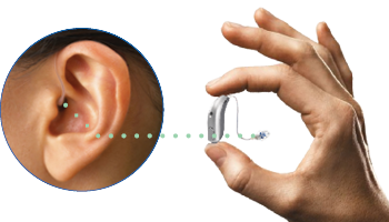 a behind the ear hearing aid being held by a hand with a line that directs to what the hearing aid looks like in the ear