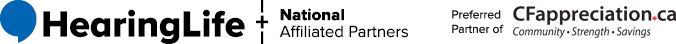 HearingLife Logo and National Affiliated Partners - Preferred Partner of CFA
