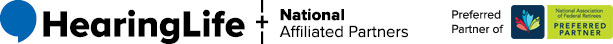 HearingLife Logo and National Affiliated Partners - Preferred Partner of Federal Retirees