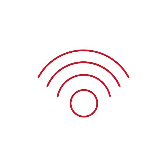 Icône rouge de la connectivité sans fil de Bernafon