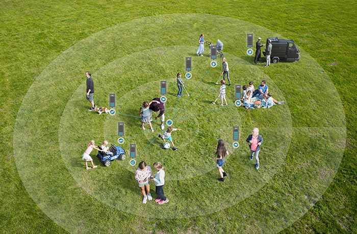 Outdoor scene showing 360 degree sound circle