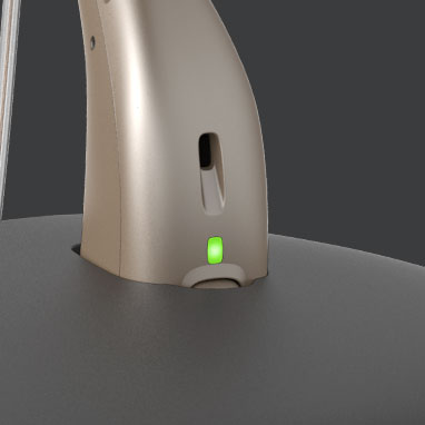 Opn s rechargeable hearing aids in charger