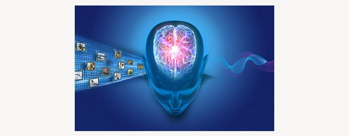Oticon More BrainHearing head against tech background