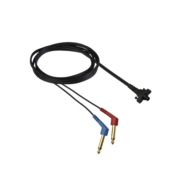 Circumaural Headband cable with two 30deg mono jacks - one red and one blue