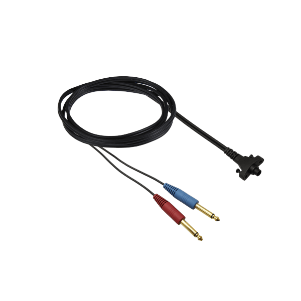 Circumaural Headband cable with two straight mono jacks - one red and one blue