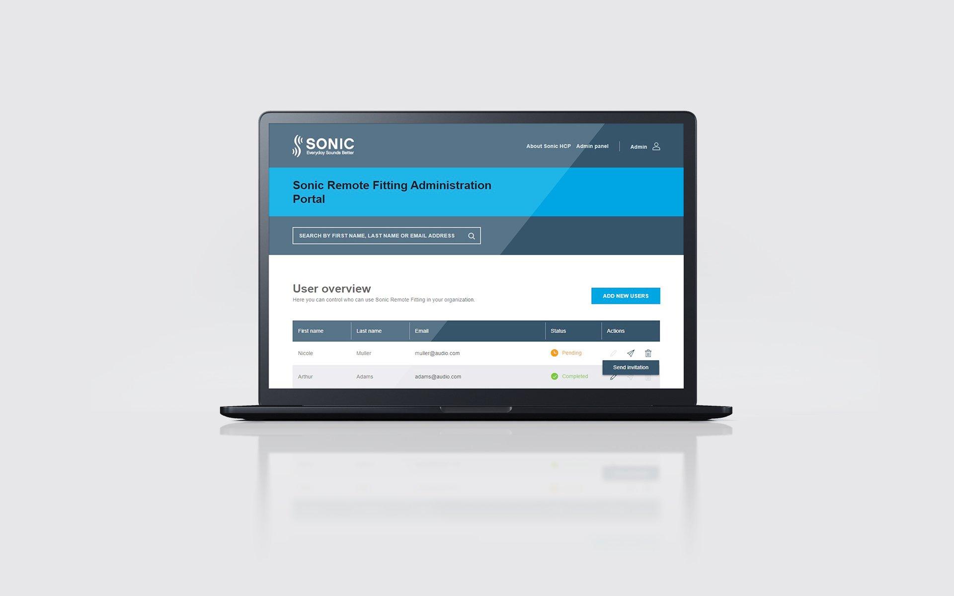 Remote Fitting Admin Portal on laptop screen